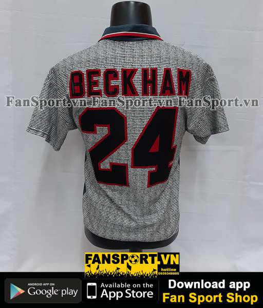 Áo đấu Beckham #24 Manchester United 1995-1996 away shirt jersey grey