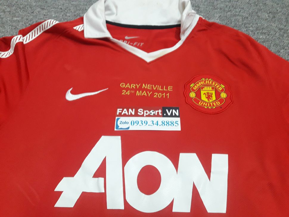 Áo đấu Gary Neville #2 testimonial Manchester United 2010-2011 home