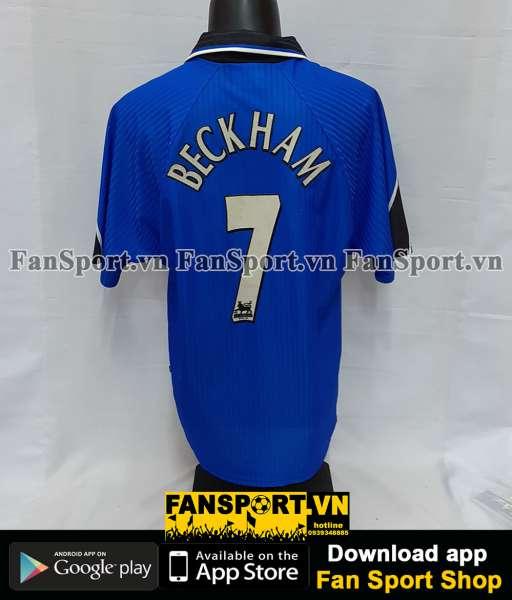 Áo đấu Beckham #7 Manchester United 1996-1998 third shirt jersey blue