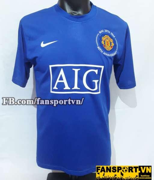 Áo đấu Berbatov #9 Manchester United 2008-2009 third shirt jersey blue