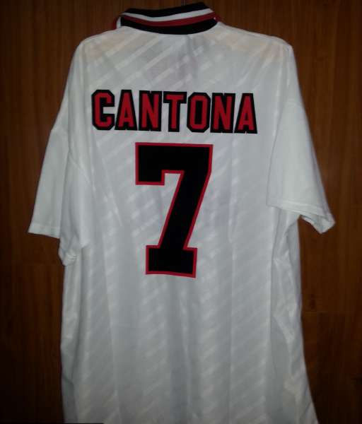 Áo đấu Cantona #7 Manchester United 1996-1998 away shirt jersey white