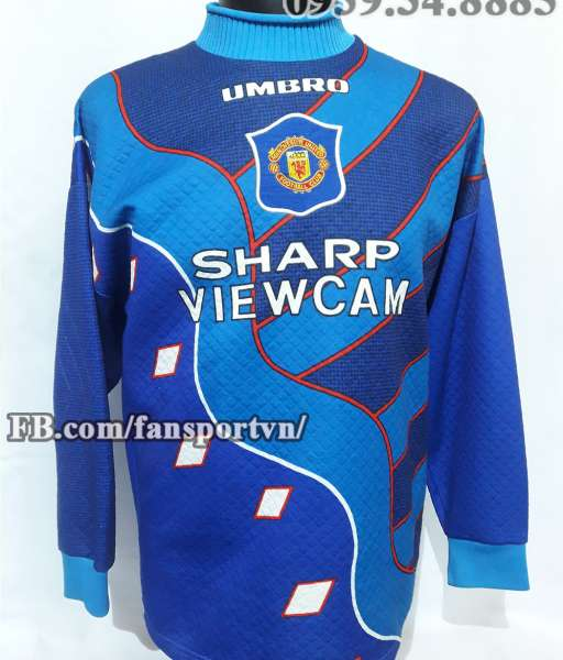 Áo Manchester United 1995-1996 away goalkeeper shirt jersey blue