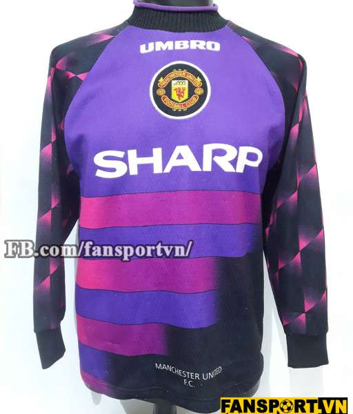 Áo Manchester United 1996-1997 away goalkeeper shirt jersey purple