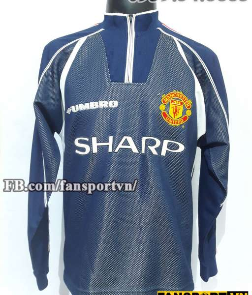 Áo Manchester United 1998-1999 away goalkeeper shirt jersey blue