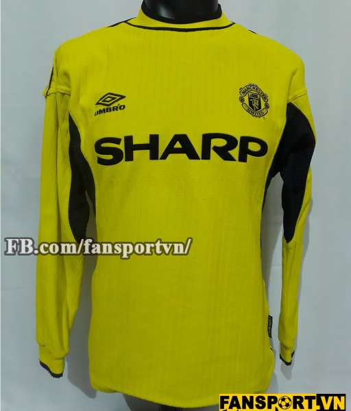 Áo Manchester United 1999-2000 home goalkeeper shirt jersey yellow