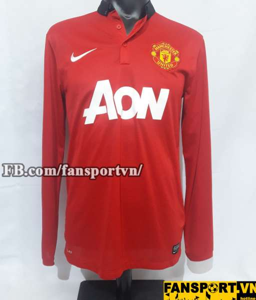 Áo đấu Manchester United 2013-2014 home shirt jersey red long