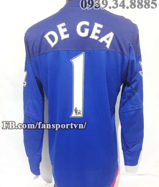 Áo De Gea #1 Manchester United 2015-2016 third goalkeeper shirt blue