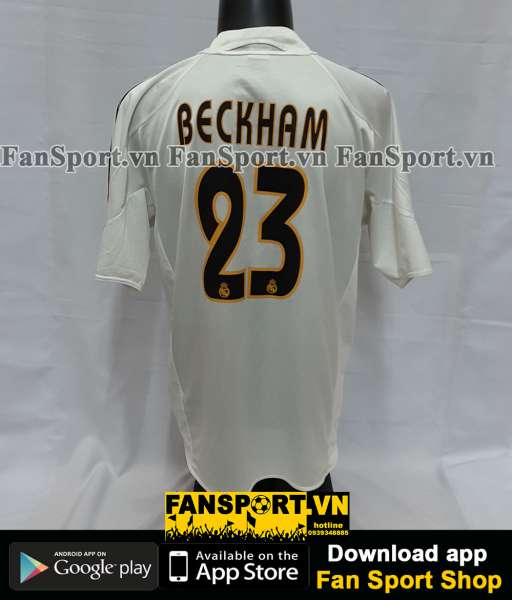 Áo đấu Beckham #23 Real Madrid 2004-2005 home shirt jersey white