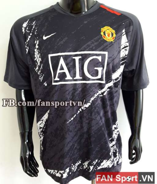 Áo tập Manchester United 2007-2008 training shirt jersey black