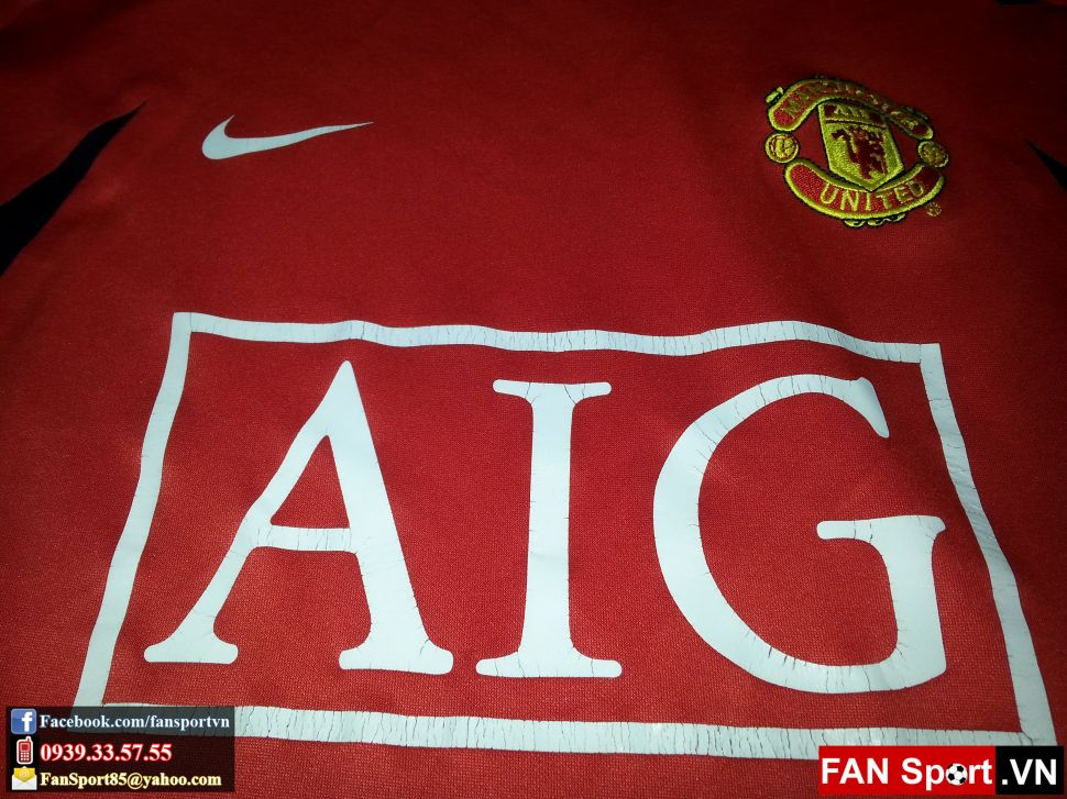 Áo tập Manchester United 2007-2008 training shirt jersey red long