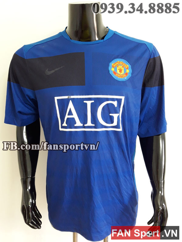 Áo tập Manchester United 2009-2010 training shirt jersey blue