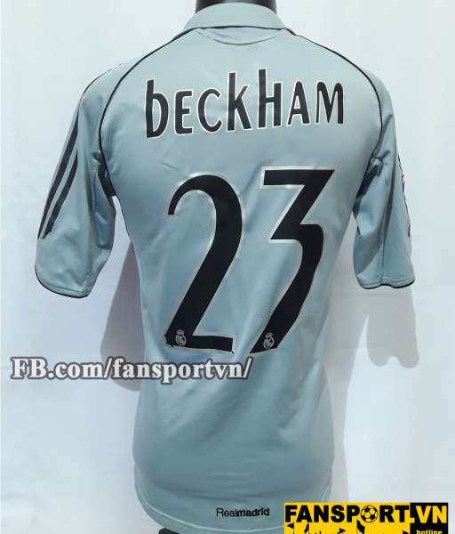 Áo đấu Beckham #23 Real Madrid 2005-2006 third shirt jersey grey