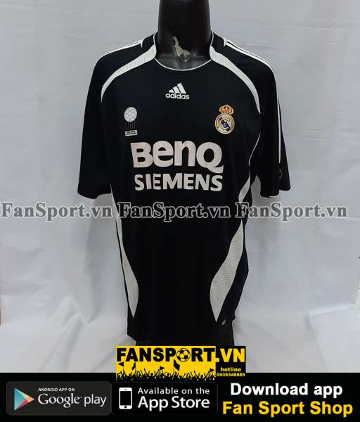 Áo đấu Beckham #23 Real Madrid 2006-2007 away shirt jersey black