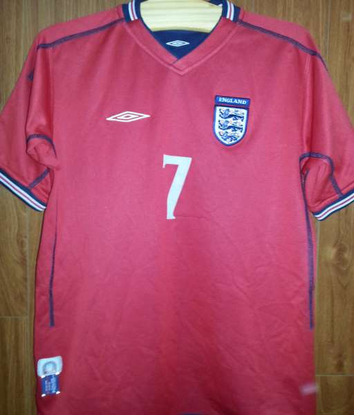 Áo đấu Beckham #7 England 2002-2004 away shirt jersey red