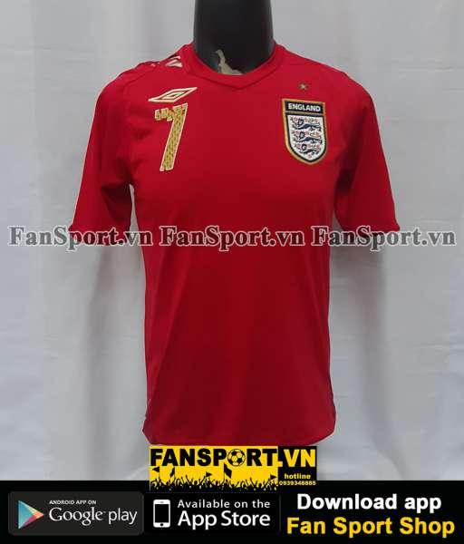 Áo đấu Beckham #7 England 2006-2007-2008 away shirt jersey red