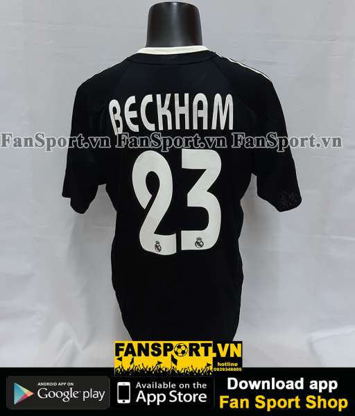 Áo đấu Beckham #23 Real Madrid 2004-2005 away shirt jersey black