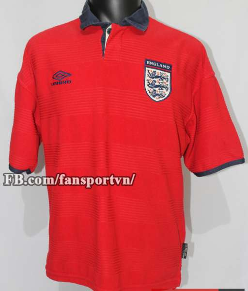 Áo đấu England 1999-2001 away shirt jersey red Euro 2000