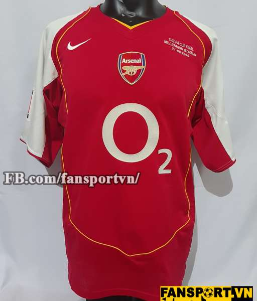 Áo đấu Bergkamp #10 Arsenal FA Cup final 2005 home shirt jersey red L