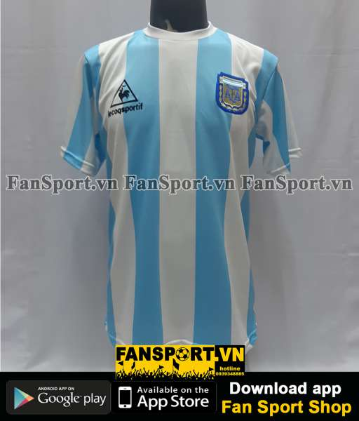 Áo Maradona 10 Argentina 1986 home shirt jersey blue sign hand COA