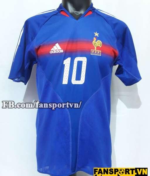 Áo đâu Zinedine Zidane #10 France 2004-2006 home shirt jersey blue
