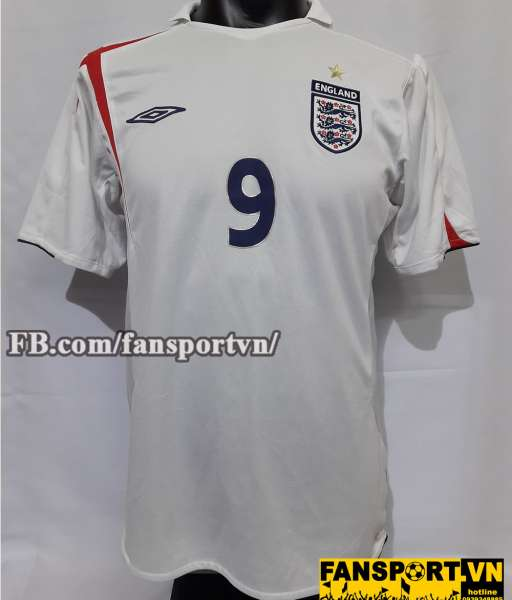 Áo đấu Wayne Rooney #9 England 2005-2007 home shirt jersey white