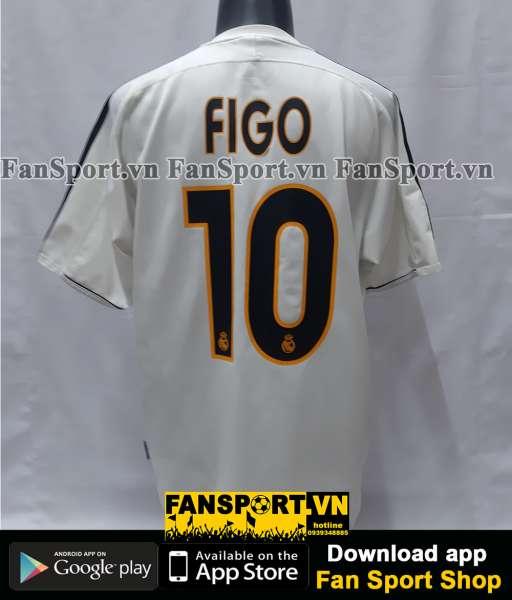 Áo chữ ký Luis Figo #10 Real Madrid 2003-2004 home shirt jersey signed