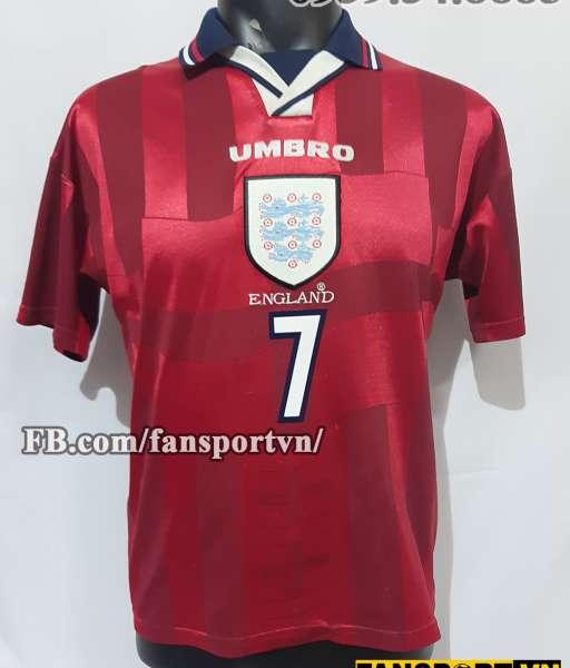 Áo đấu Beckham #7 England 1997-1999 away shirt jersey red