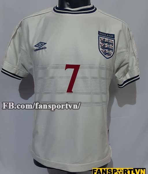 Áo đấu Beckham #7 England 1999-2001 home shirt jersey white