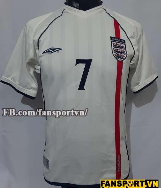 Áo đấu Beckham #7 England 2001-2003 home shirt jersey white