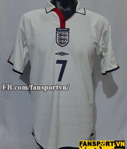 Áo đấu Beckham #7 England 2003-2005 home shirt jersey white