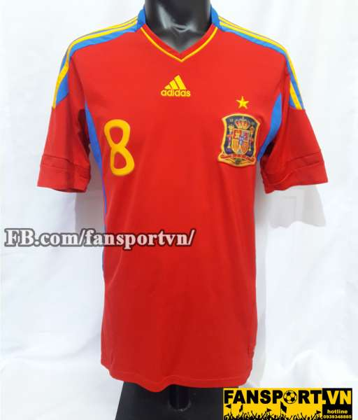 Áo đấu Xavi #8 Spain 2011-2012 home shirt jersey red