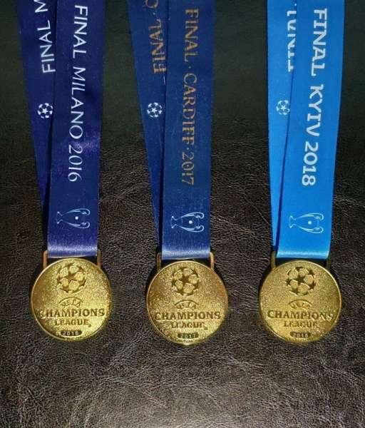 Bộ 3 huy chương vô địch Champion League 2016 - 2017 - 2018 Real Madrid