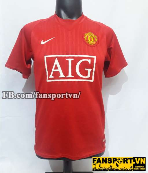 Áo đấu Nani #17 Manchester Unied 2007-2009 home shirt jersey red