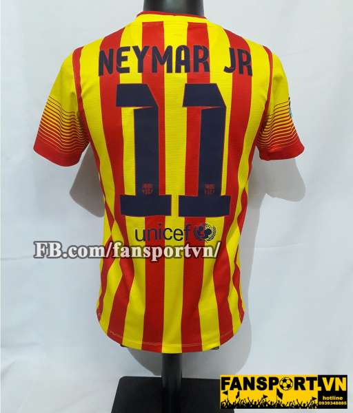 Áo đấu Neymar JR #11 Barcelona 2013-2014 away shirt jersey yellow red