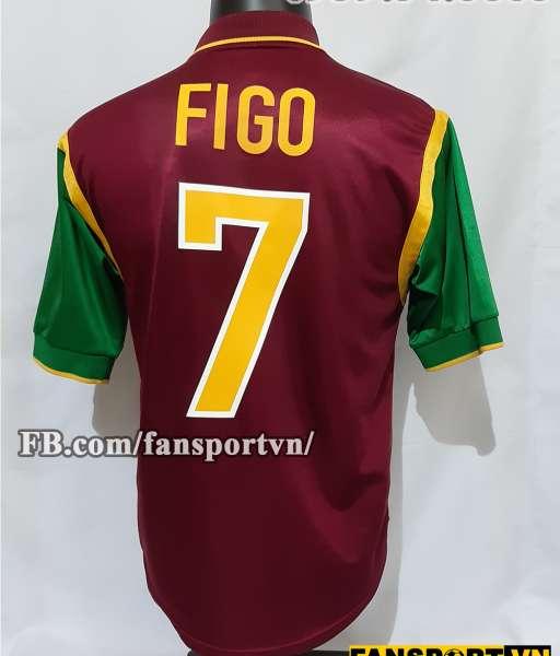 Áo đấu Figo #7 Portugal 1998-1999 home shirt jersey brown World Cup