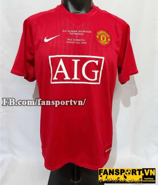 Áo đấu Solskjaer #20 Manchester United testimonial shirt 2008 home red