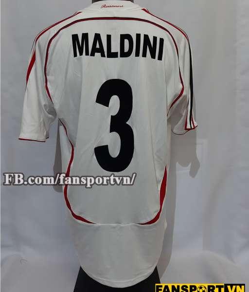 Áo đấu Paolo Maldini #3 AC Milan 2006-2007 away shirt jersey white