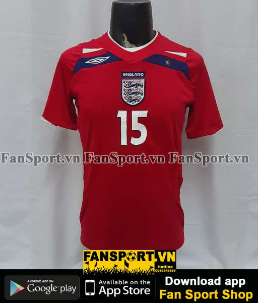 Áo đấu Beckham #7 England 2008-2009-2010 away shirt jersey red