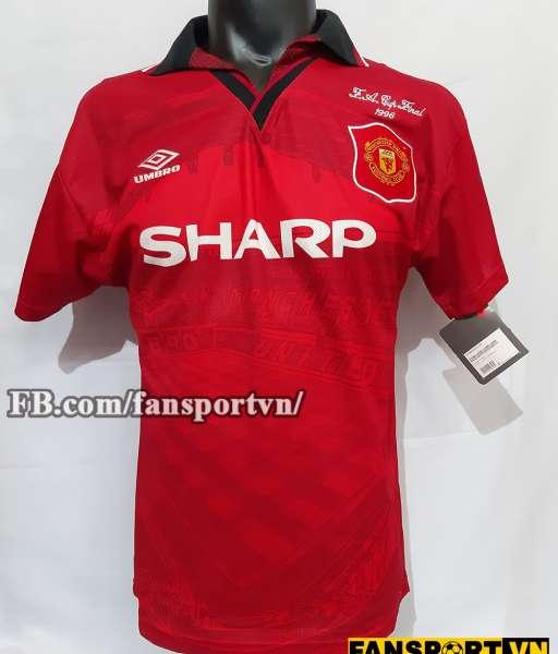 Áo đấu Beckham #24 Manchester United FA Cup final 1996 home shirt red
