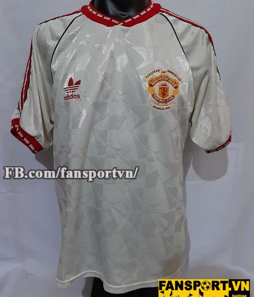 Áo đấu Manchester United Cup Winners' Cup 1991 away shirt jersey white