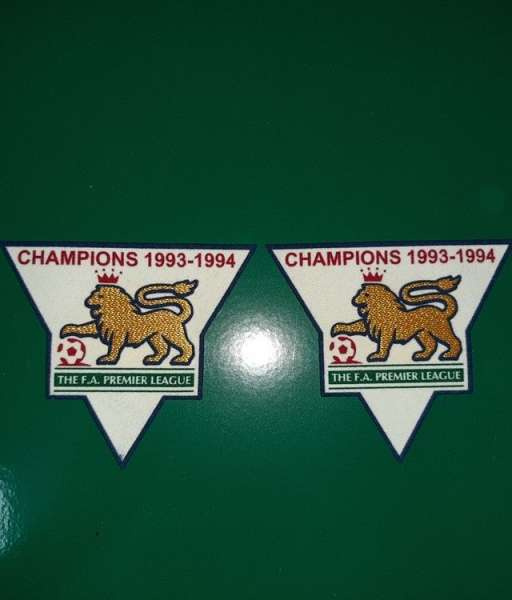 Patch F.A. Premier League 1993-1994 Champions badge gold