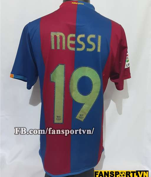Áo đấu Messi #19 Barcelona 2006-2007 home shirt jersey red blue