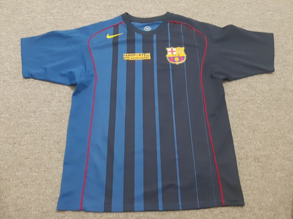 Áo Barcelona 2004-2005 away shirt jersey blue