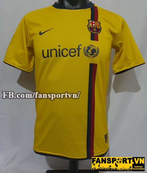 Áo đấu Messi #19 Barcelona 2008-2009 away shirt jersey yellow