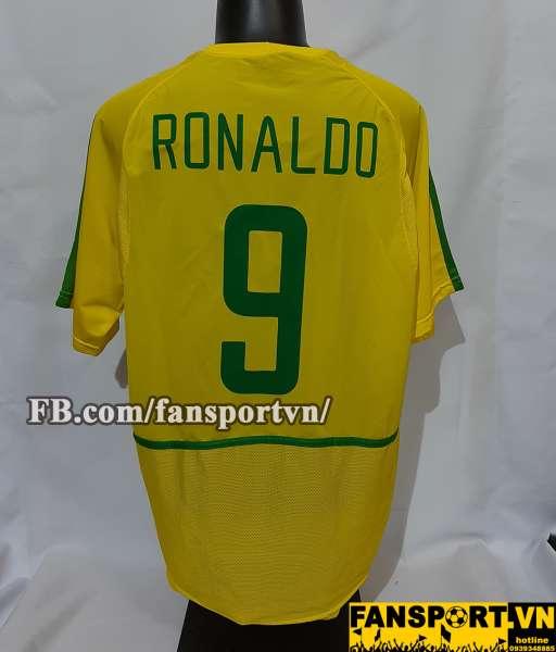 Áo đấu Ronaldo #9 Brazil 2002-2004 home shirt jersey yellow World Cup