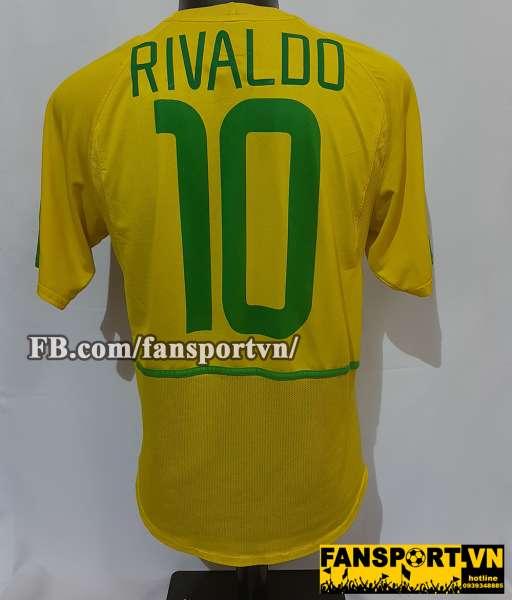 Áo đấu Rivaldo #10 Brazil 2002-2003-2004 home shirt jersey yellow