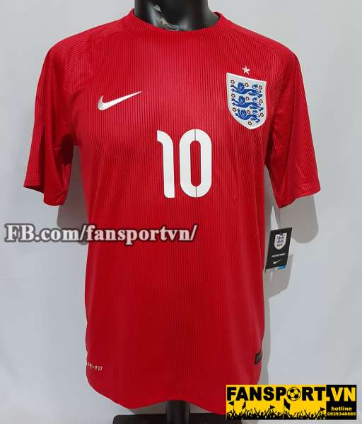 Áo đấu Rooney #10 England 2014-2015 away shirt jersey red