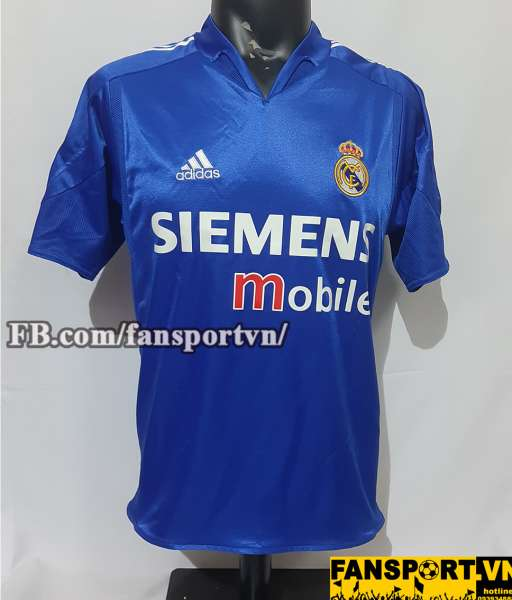 Áo đấu Zidane #5 Real Madrid 2004-2005 third shirt jersey blue