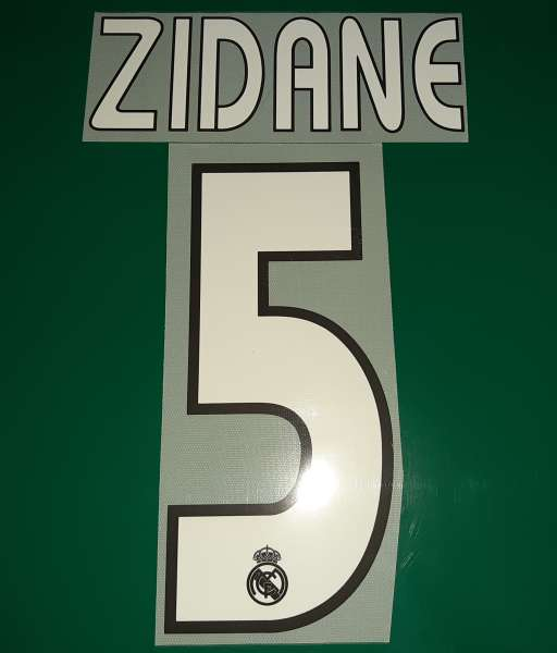 Font Zidane #5 Real Madrid 2003-2004-2005 away third shirt nameset