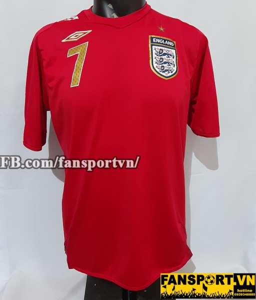 Áo đấu Beckham #7 England 2006-2007-2008 away shirt jersey red